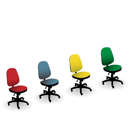 vacant: four color office chair isolated on a white - illustration