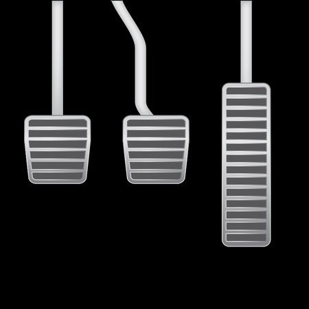 palanca: Ilustración aislada realista de los pedales de coches