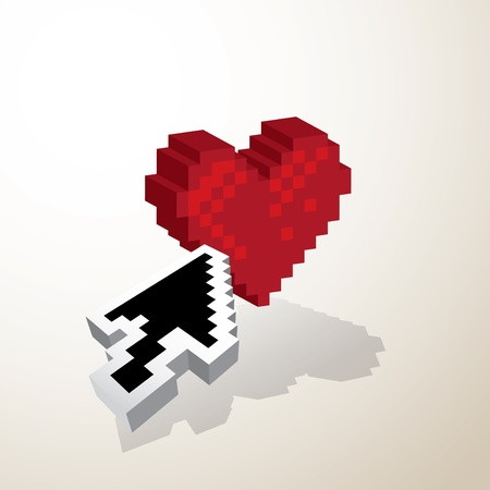 3D Pixel red heart wirh mouse pointer - illustration Vector
