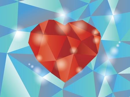 Abstract diamond heart illustration  Vector