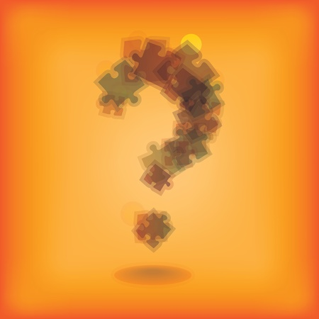 question mark from pieces of puzzle - illustration