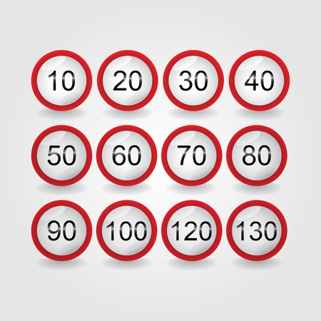 set of road sign speed limit - illustration Vector