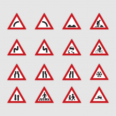 roadway: set of road signs - illustration