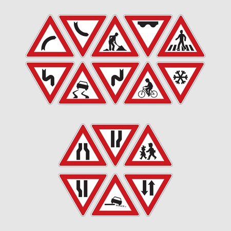 warning triangle: set of road signs - illustration