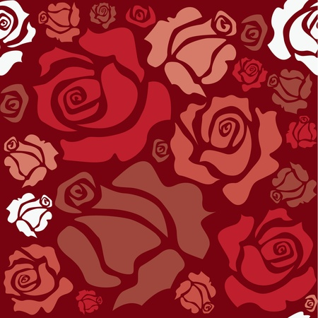 seamless pattern of red roses - sketch illustration Vector