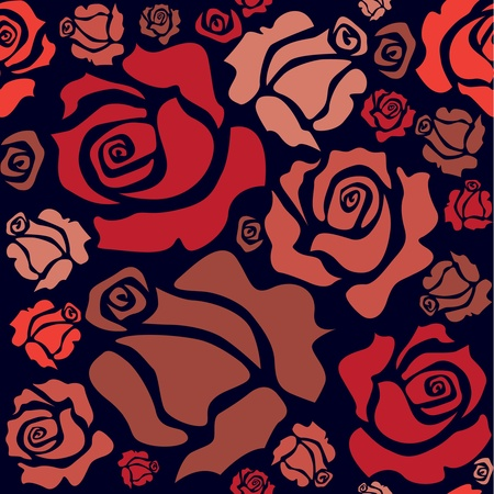 seamless pattern of red roses - illustration Stock Vector - 12453359