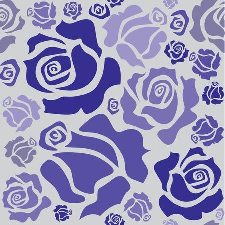 seamless pattern of blue roser - illustration Stock Vector - 12453554