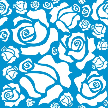 rose stem: seamless pattern of white roses Illustration
