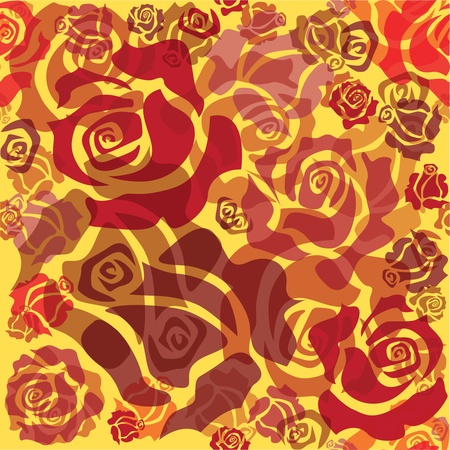 seamless pattern of red roses - sketch illustration Stock Vector - 12452854