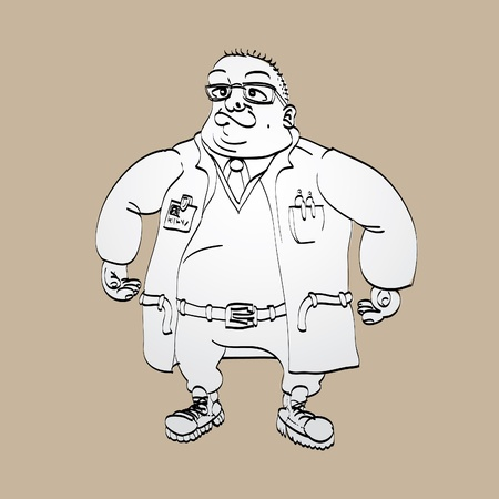 strong man standing scientist - illustration Vector