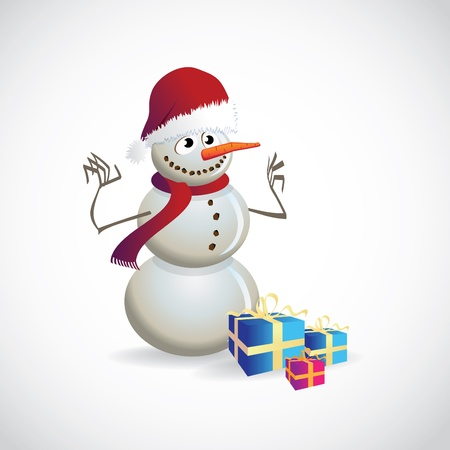 Christmas postcard with snowman - illustration Vector