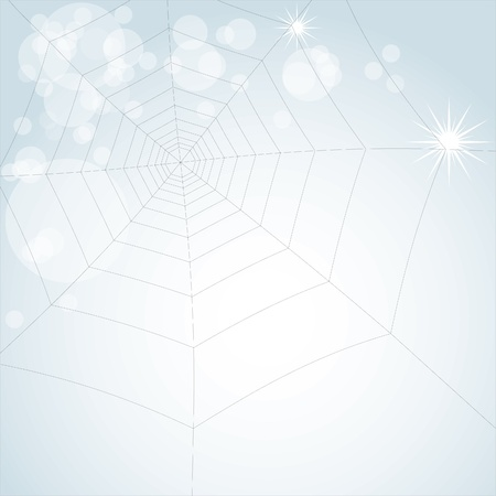 cobwebby: spider web on light shiny background - illustration
