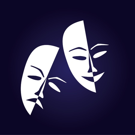 theatrical performance: Theatre masks lucky sad on a dark background- illustration