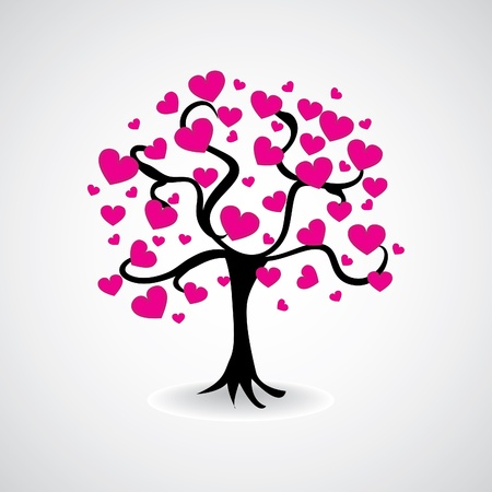 tree from heart leafs - illustration Vector