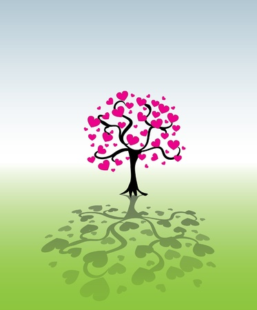 young tree: tree from heart leafs - illustration