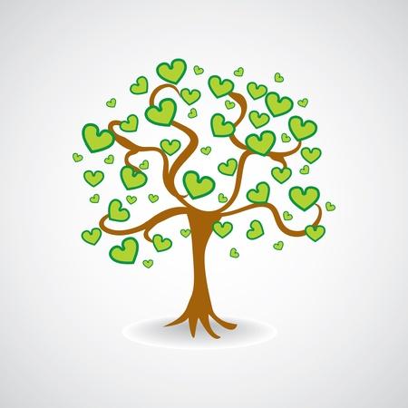 Baum aus grünen Herzen Leafs - Illustration