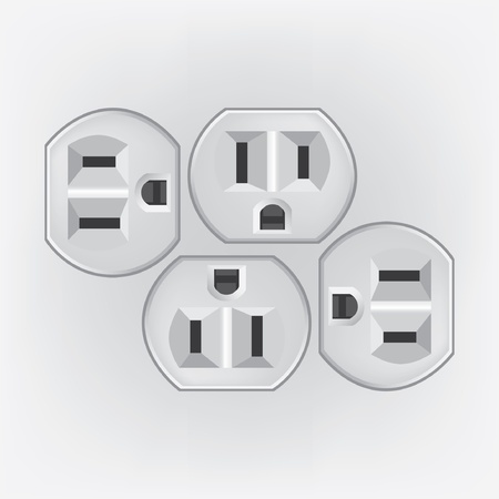 electric hole: U S  electric household outlet isolated - illustration