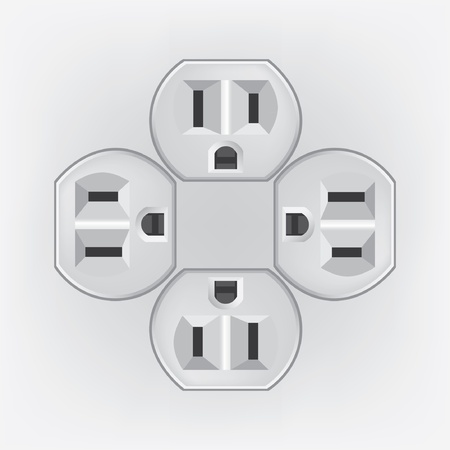 electrical outlet: U S  electric household outlet isolated - illustration
