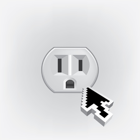U S  electric household outlet isolated - illustration Vector