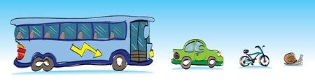 cartoon vehicles car, bus bike and snail - illustration Vector