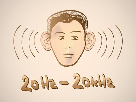 high volume: Hertz frequency spectrum range - illustration