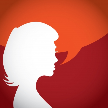 talkative: Silhouette of talking woman - illustration Illustration