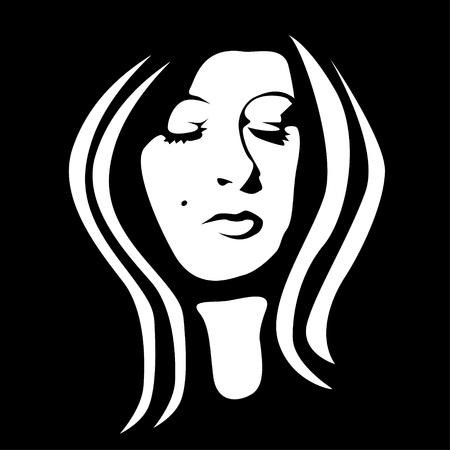 Volto di donna in bianco e nero - illustrazione Vettoriali