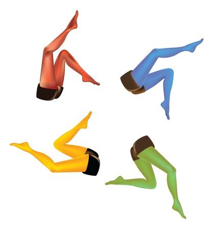 set of gradient mesh realistic woman legs - illustration Vector