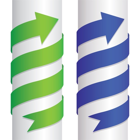 wrapped around: set of arrows wrapped around the pillar - illustration Illustration