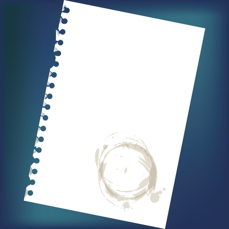 scratch pad: Close up of blank notepad paper with spots - illustration