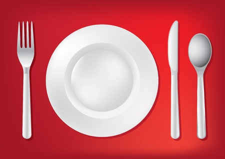 dinning table: Knife, white plate and fork - illustration
