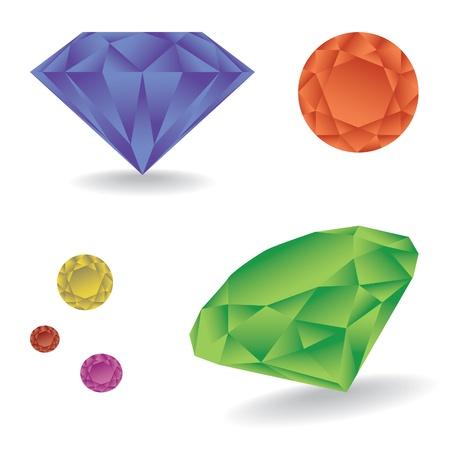 Shiny diamond with shadow - illustration