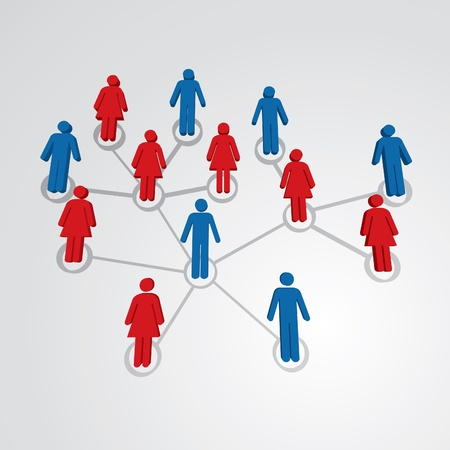 network map: Men and women in social network map - illustration