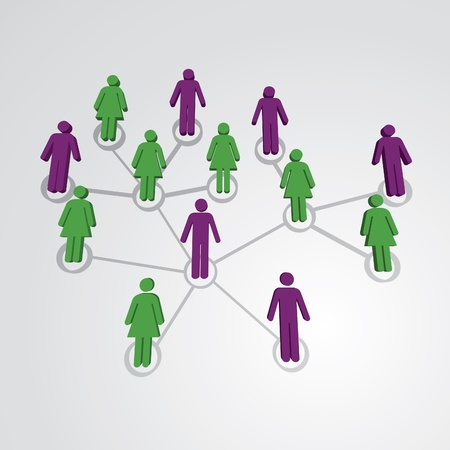 Men and women in social network map - illustration Vector