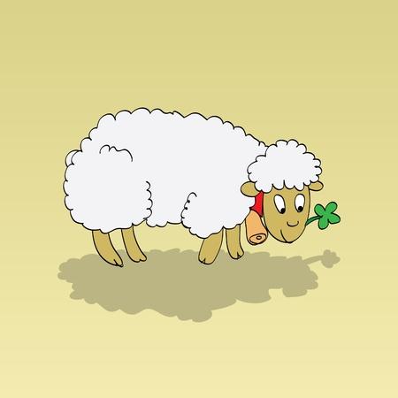 cute little standing lamb - illustartion Vector