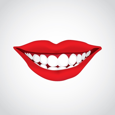 beautiful woman´s  mouth smiling - illustration Vectores