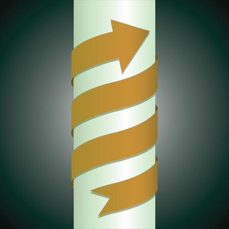 arrow wrapped around the pillar - illustration Vector
