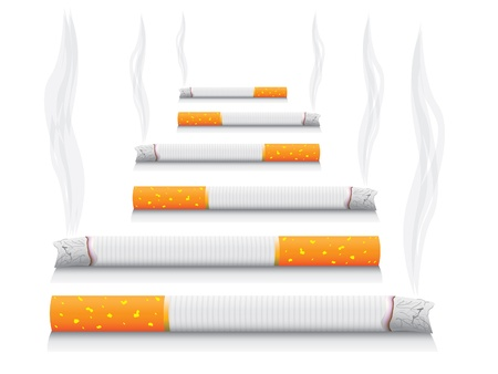 tobacco product: isolated smoking cigarettes - detailed realistic illustration