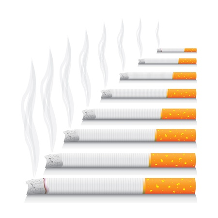cigarette smoke: isolated smoking cigarettes - detailed realistic illustration