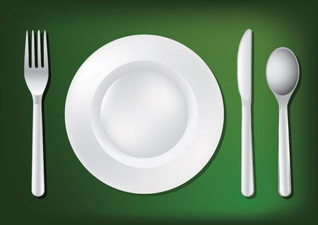 place setting: dishes and empty plate