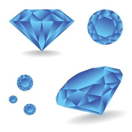 Glanzende diamant met schaduw - illustratie
