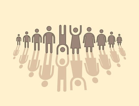 human figures in row - illustration Stock Vector - 12860898