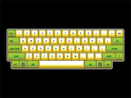 isoated: isoated computer keyboard layout - realistic illustration