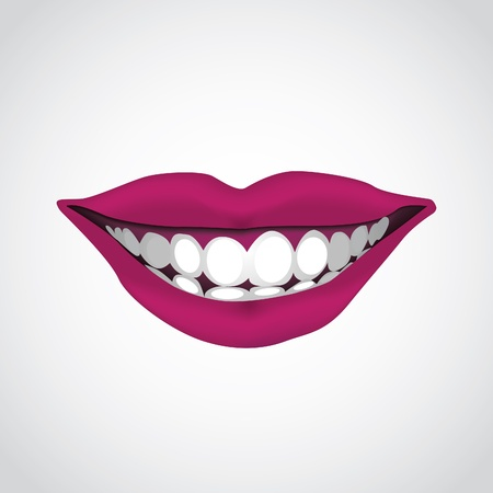 whiten: beautiful woman s  mouth smiling - illustration Illustration