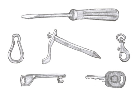 clinch: Set of small handy objects - illustration