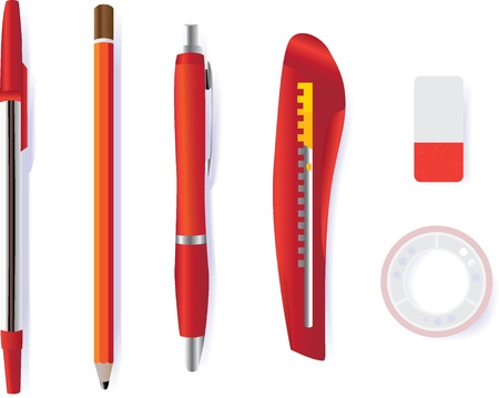 pen pencil cutter eraser and tape - illustration illustration