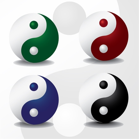 four color ying yang symbols - illustration illustration