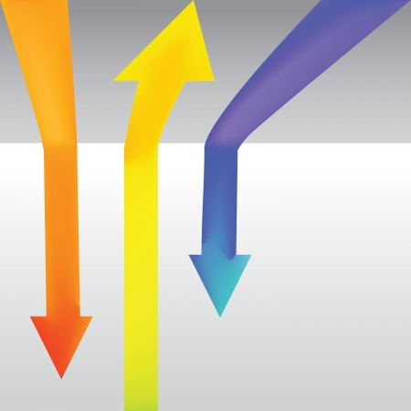 Three colour arrow going up and down - illustration Vector