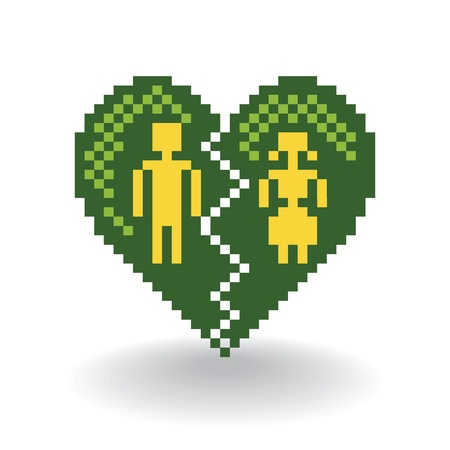 broken heart in pixels - illustration Vector