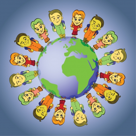 global kids symbolizing unity and peace - illustration Vector